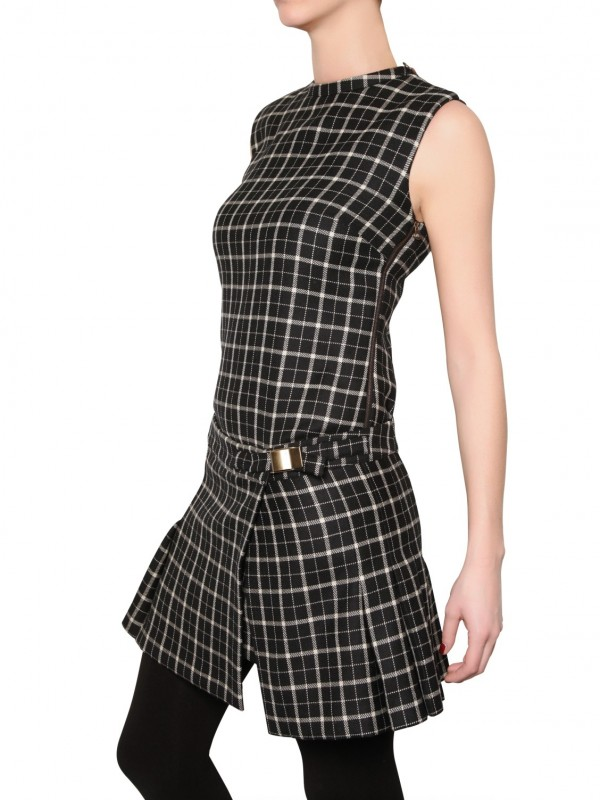 see-by-chloe-black-check-wool-dress